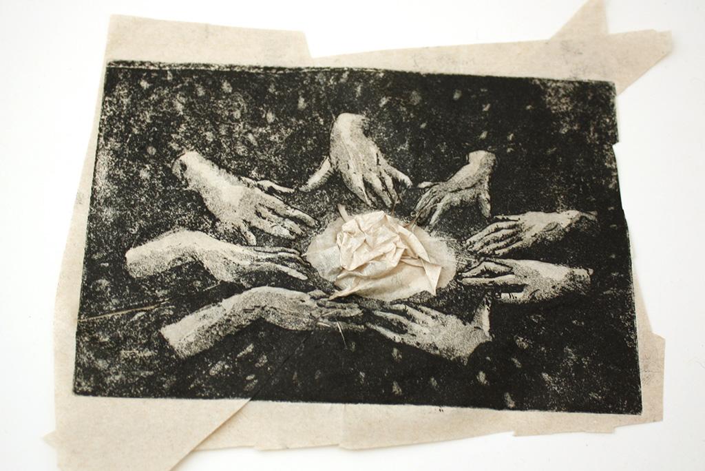 gravue inclusion papier de soie