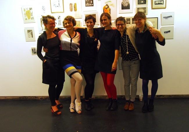 les six artistes du collectif de gravure Gravissime